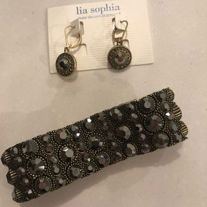 Lia Sophia gold bracelet and earring set